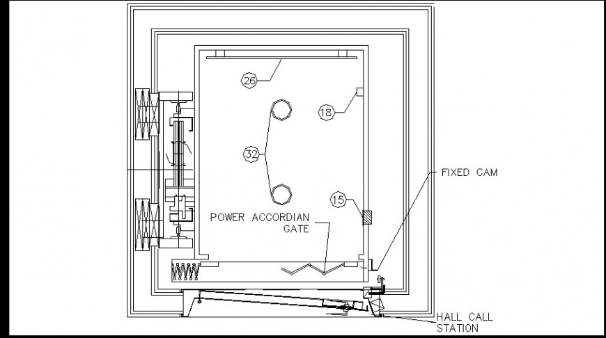Power accordian gate top view plan
