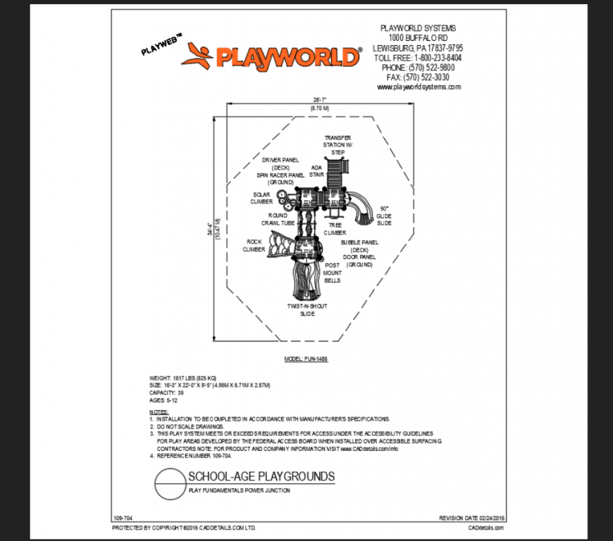 Power junction school play ground play area system structure details dwg file