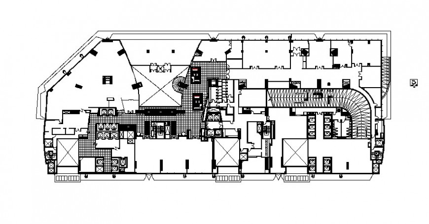 Pre-functional area of office layout plan details with furniture layout details dwg file