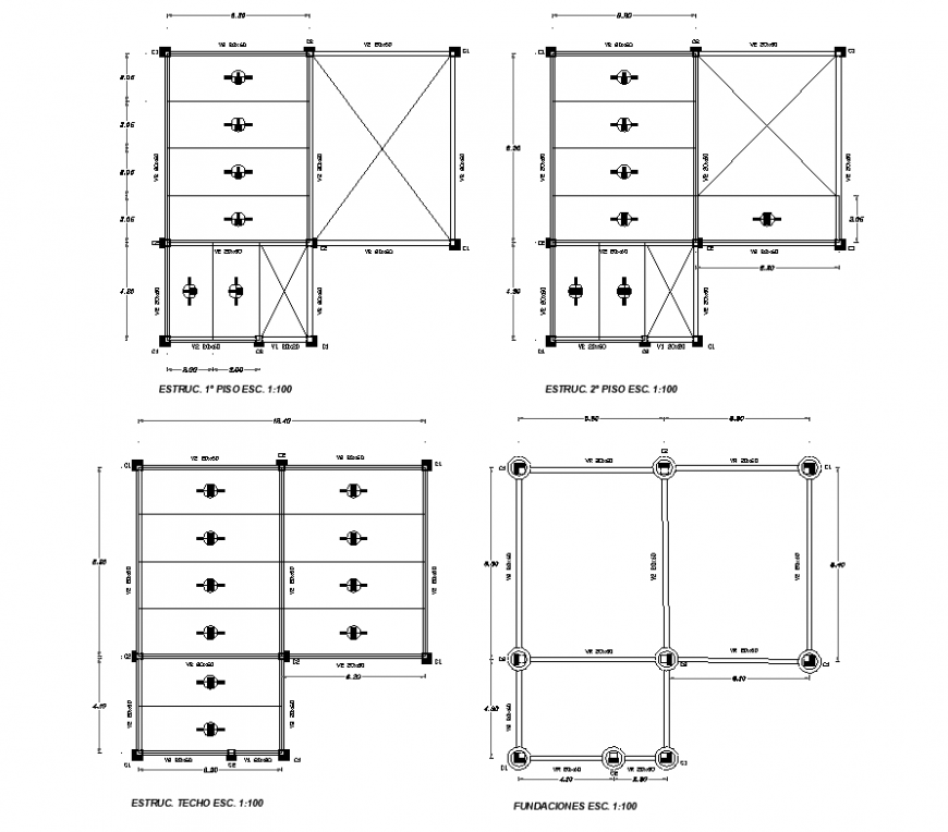 Precast concrete cabin detail elevation and plan dwg file