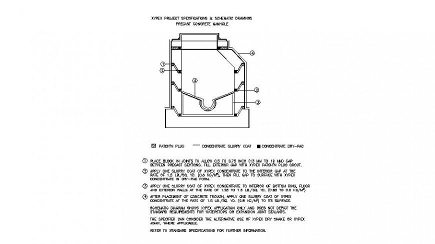 Precast concrete manhole cad construction details dwg file