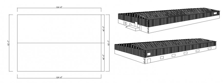 Prefabricated constructive court details of industrial warehouse building dwg file