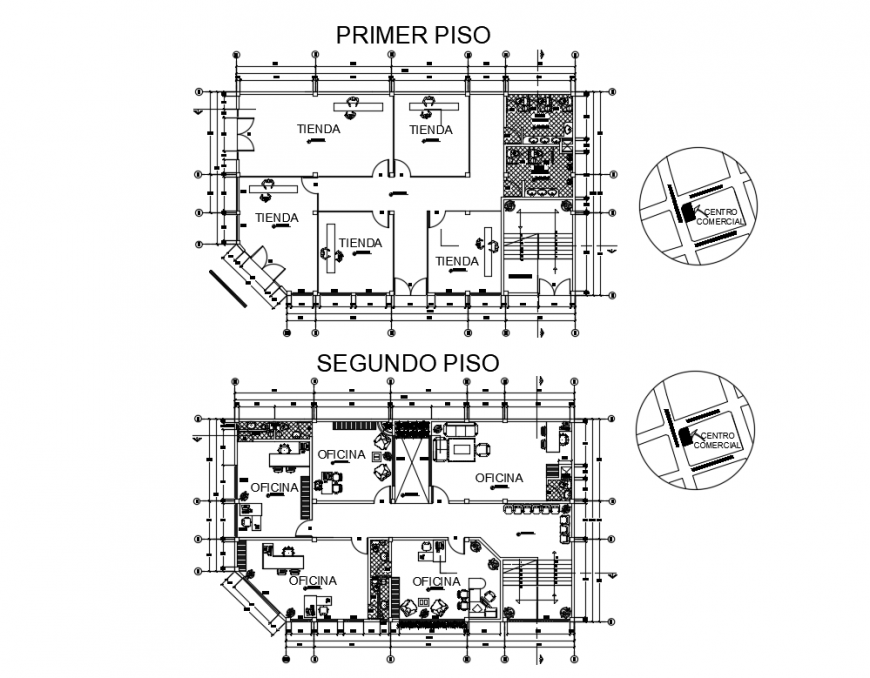 Premier and second floor layout plan details of office building dwg file