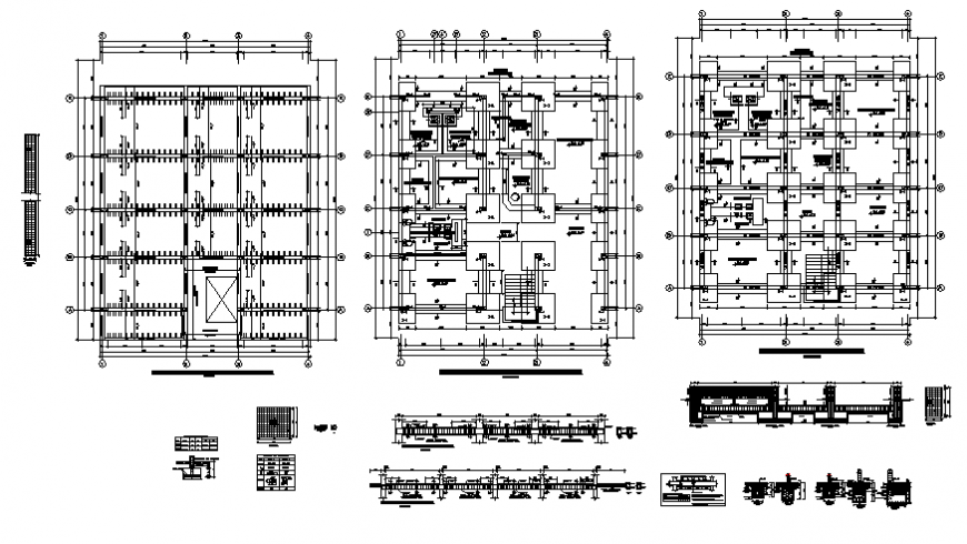 Premises municipality government building floor plan and foundation structure details dwg file