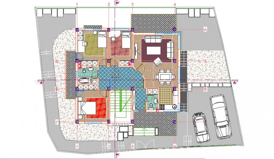 Presentation layout plan of Single house design drawing