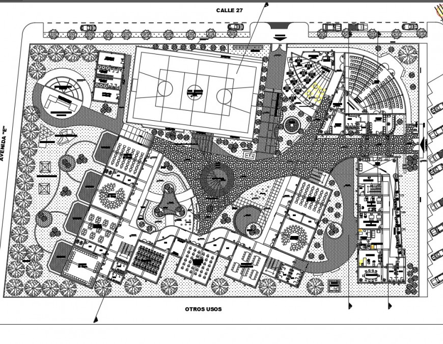Primary education school distribution and landscaping structure details dwg file