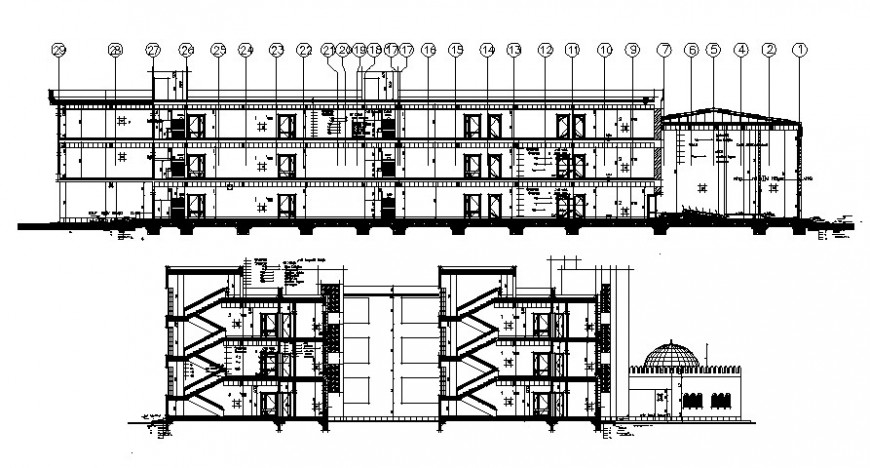 Primary multi-level school all sided section cad drawing details dwg file