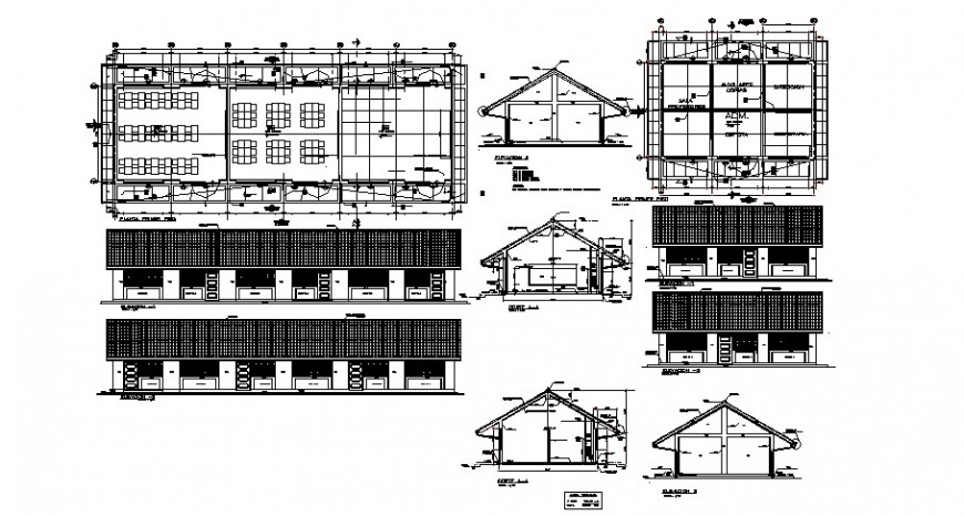 Primary school all sided elevation, section and plan drawing details dwg file