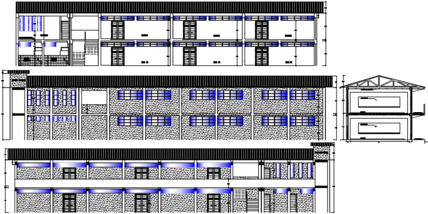 Primary school all sided elevation and section drawing details dwg file