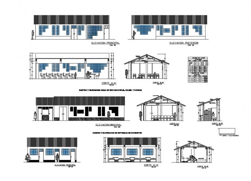 Primary school building all sided elevation and sectional details dwg file