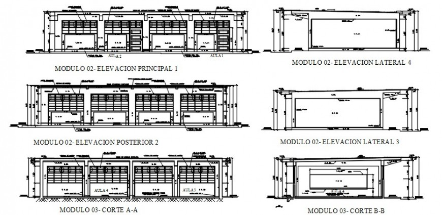 Primary school building all sided elevation and sections drawing details dwg file