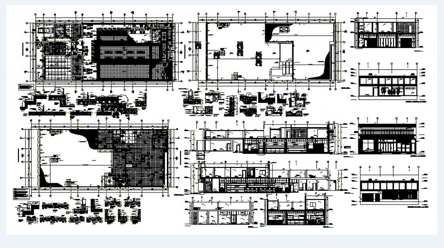 Primary school building elevation, section and floor plan cad drawing details dwg file