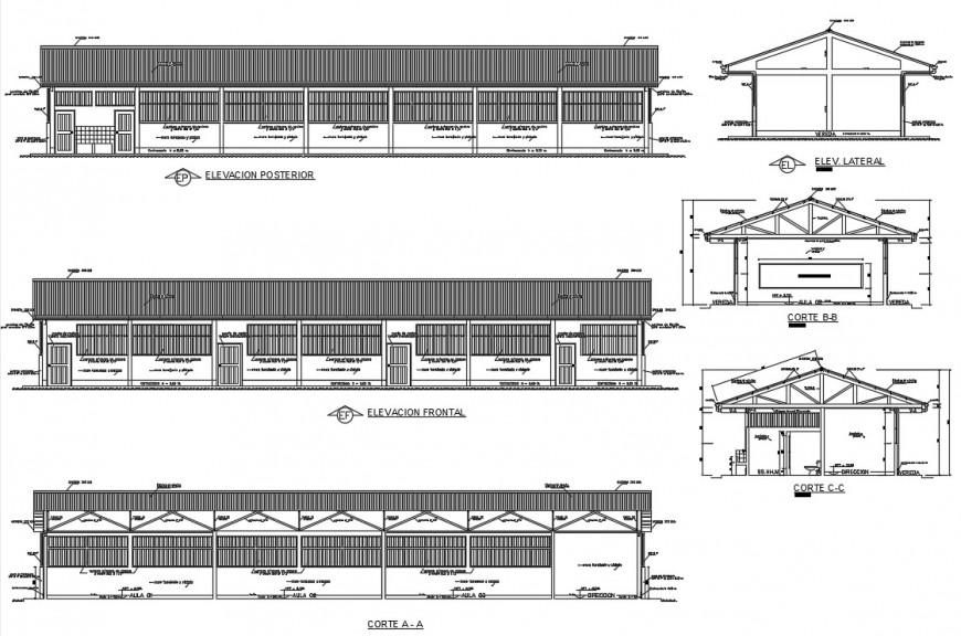 Primary school building elevation and section cad drawing details dwg file