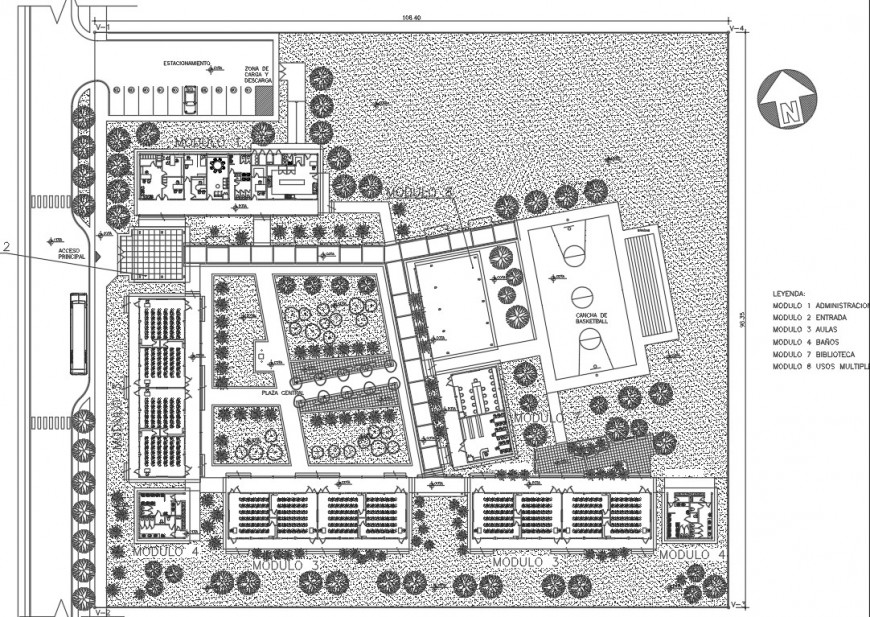 Primary school distribution layout and landscaping structure details dwg file