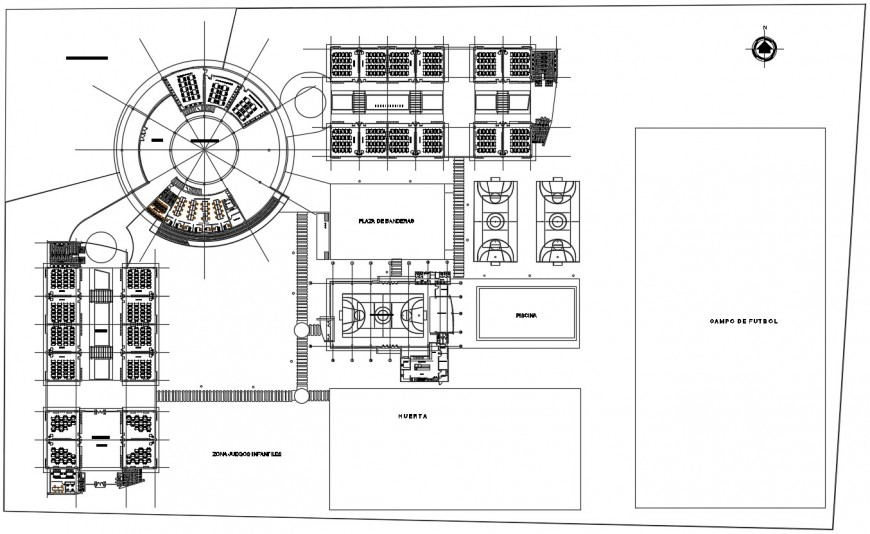 Primary school distribution plan and sports ground details dwg file
