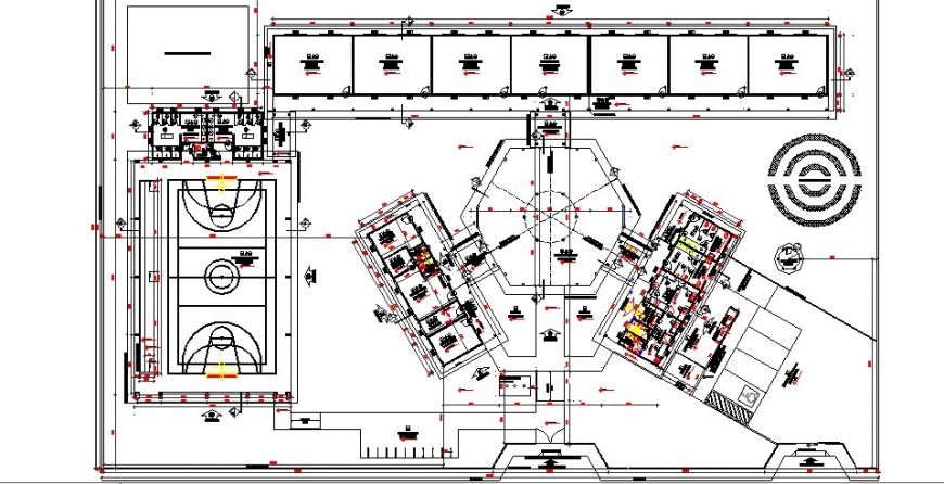 Primary school distribution plan details with sports ground cad drawing details dwg file