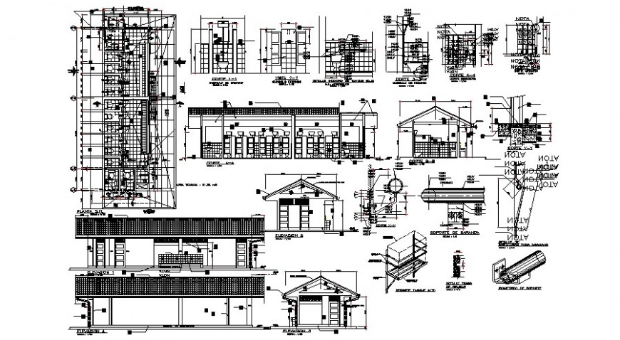 Primary school elevation, class room section and distribution plan details dwg file