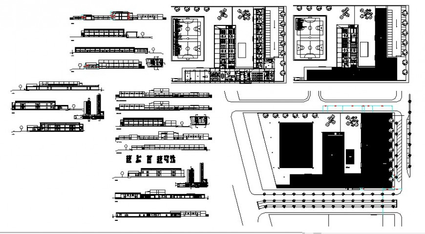 Primary school elevation, section, floor plan and auto-cad drawing details dwg file