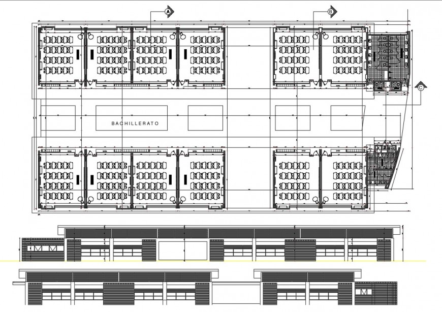 Primary school elevations and distribution plan drawing details dwg file