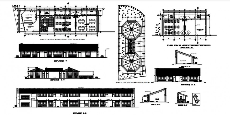 Primary school elevations and floor plan cad drawing details dwg file