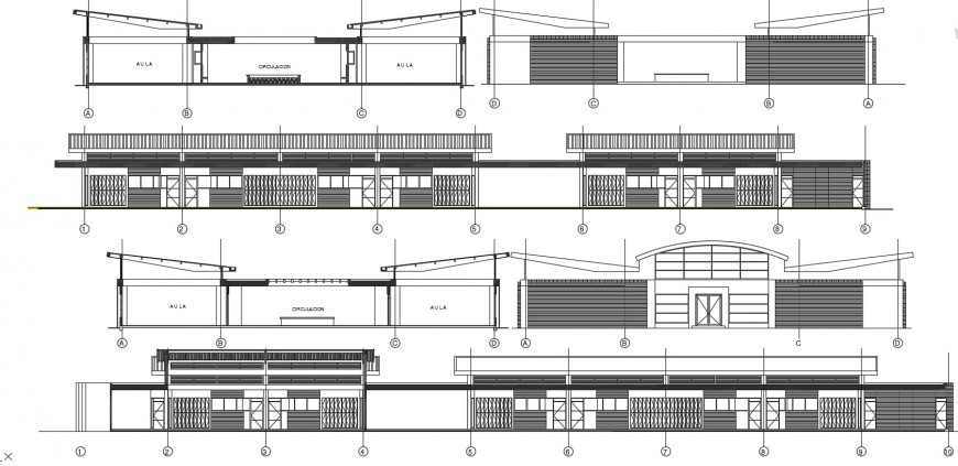 Primary school elevations and sections drawing details dwg file
