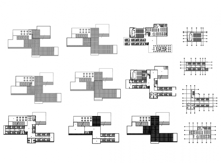 Primary school ground, first, second etc floor plan layout details dwg file