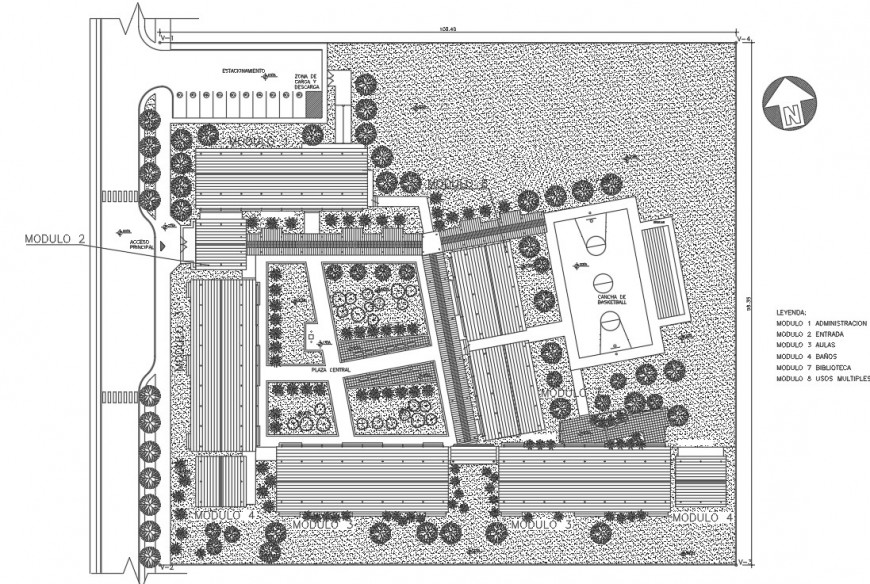 Primary school module distribution and landscaping drawing details dwg file