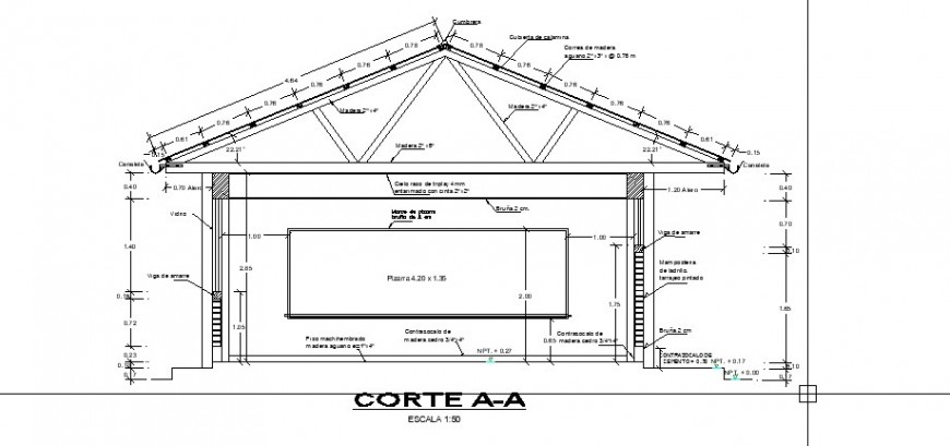 Primary school truss detail drawing in dwg AutoCAD file.