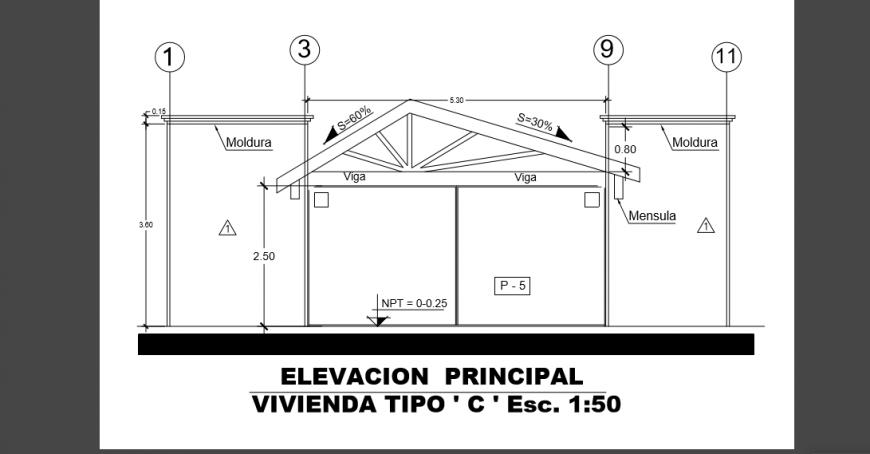 Principal Elevation layout design drawing of Villa design