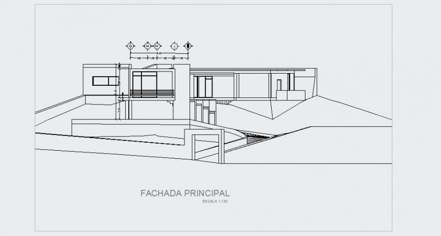 Principal Elevation plan design drawing for modern house design