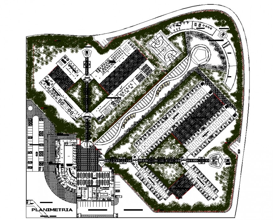 Prison site plan drawing in dwg file.