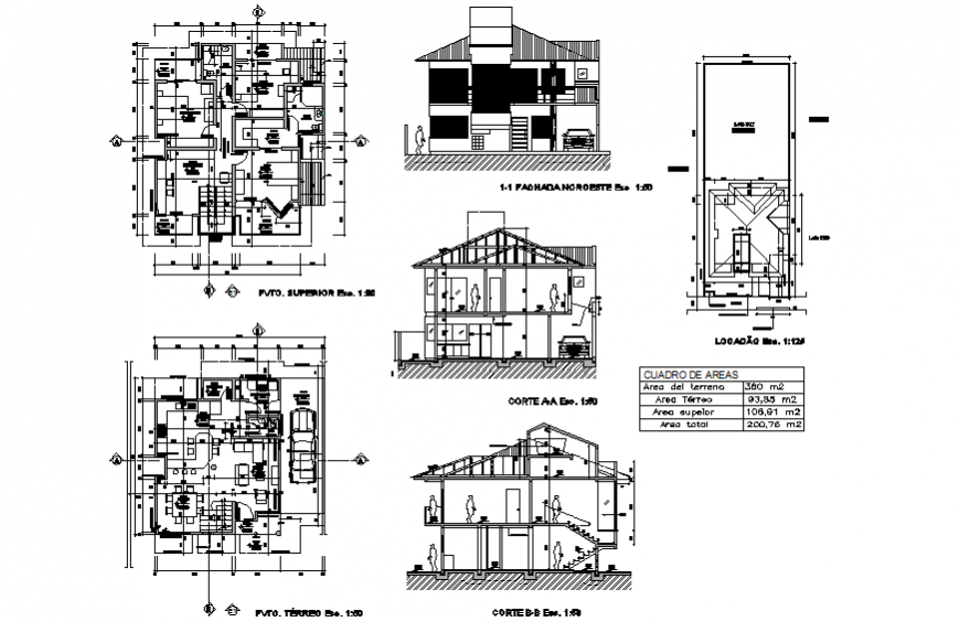 Private bungalow working layout drawing in dwg file.