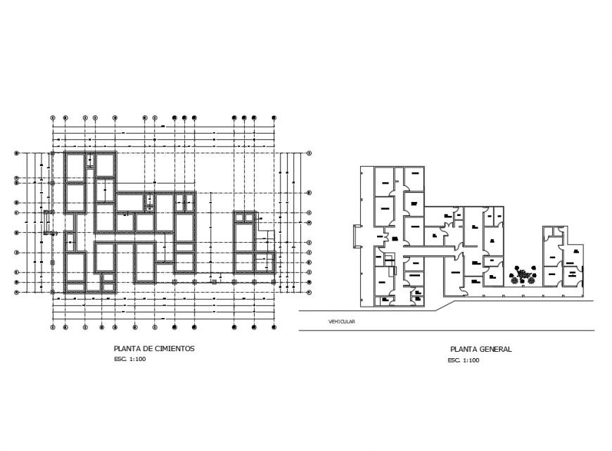 Private clinic layout plan details with foundation plan cad drawing details dwg file