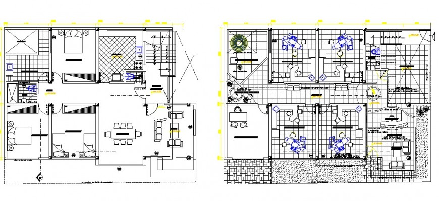 Private clinic with house first and second floor plan cad drawing details dwg file
