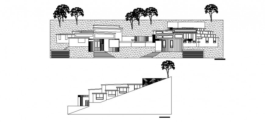 Private resort elevation detail drawing in dwg AutoCAD file.