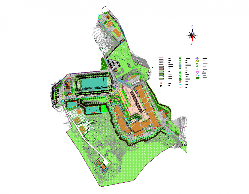 Private school landscaping design and structure details dwg file