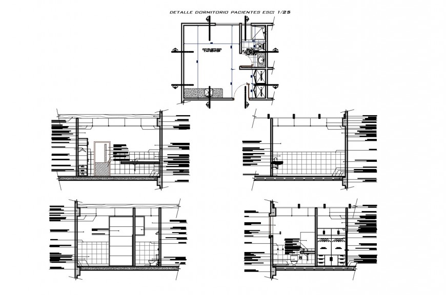 Private toilet sections, plan and sanitary installation cad drawing details dwg file
