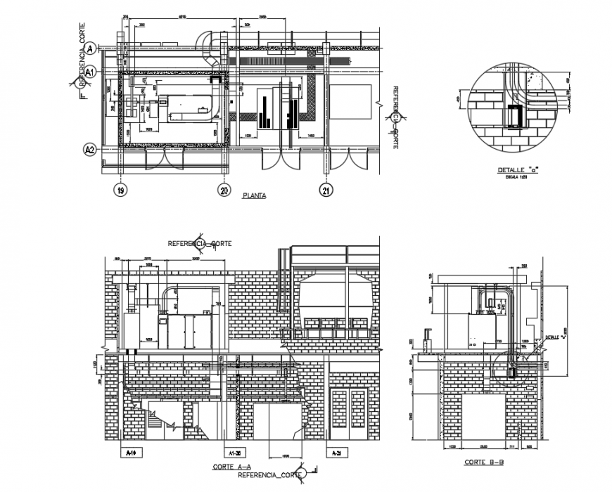 Processing industrial plant facade and side sectional details with plan dwg file
