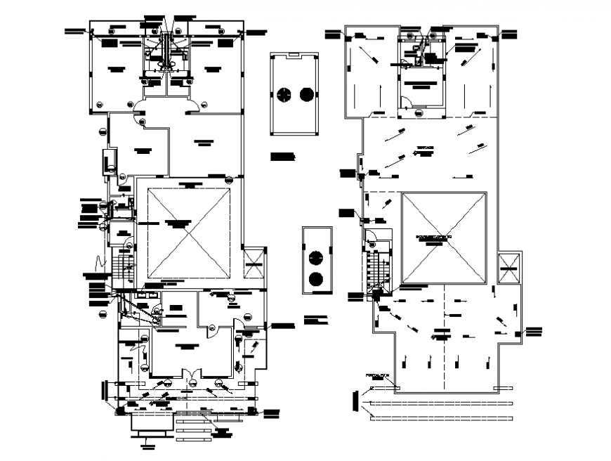 Processing plant ground and first floor plan cad drawing details dwg file