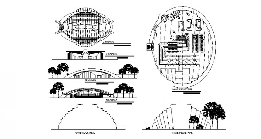 Production industry of glass containers for perfumes and derivatives architecture project dwg file