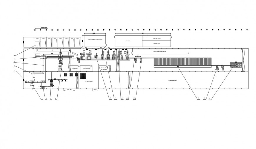 Production processing plant distribution plan cad drawing details dwg file