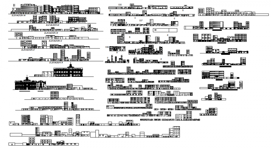 Profiles of the historic center of Chiclayo elevation and section detail dwg file