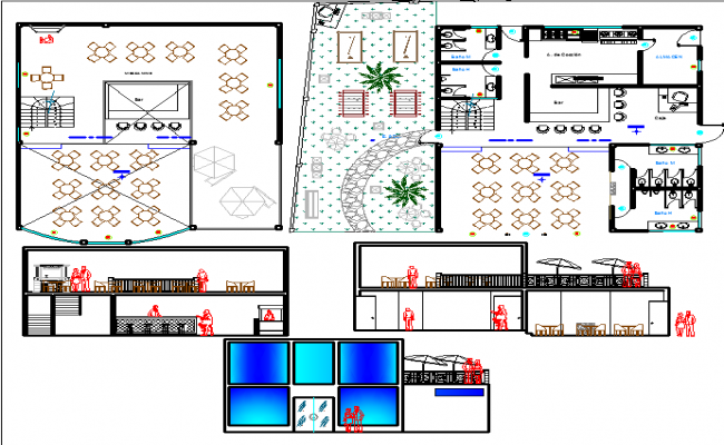 project room complete cafeteria dwg file