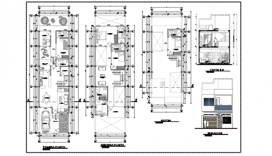 Project of single family house 6x23 total design project
