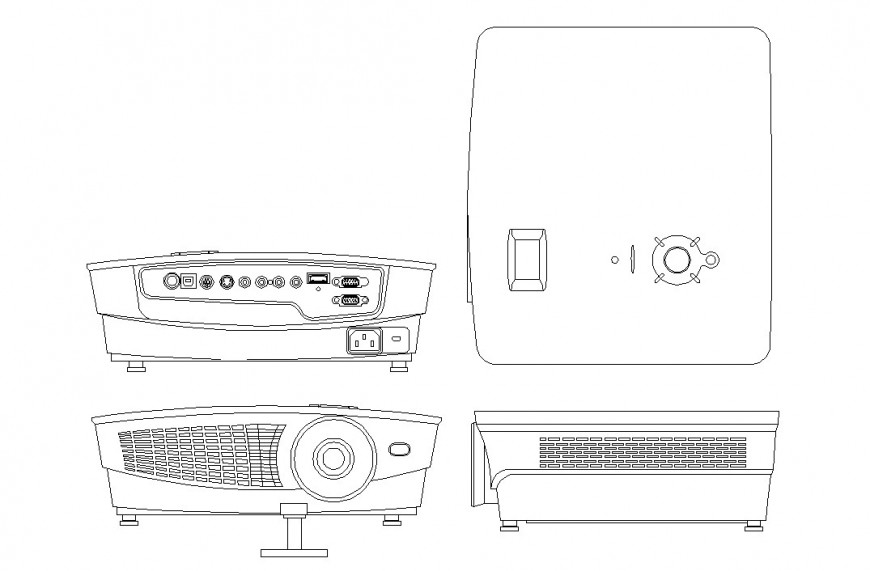 Projector plan and elevation detail dwg file