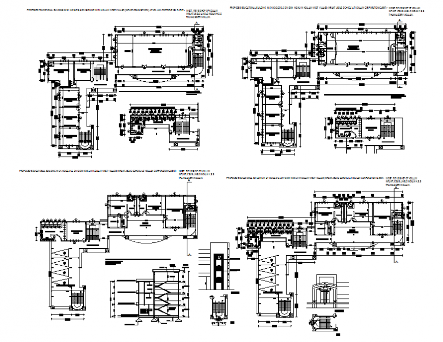 Propose education school building section, floor plan and framing plan details dwg file