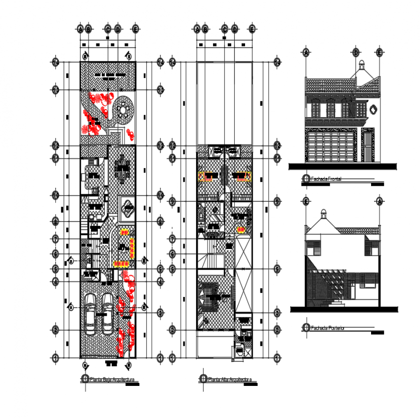 Propose house elevation and floor plan layout details dwg file