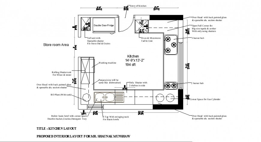 Propose interior layout and kitchen layout plan cad drawing details dwg file