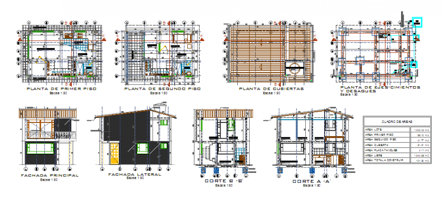 Proposed architectural layout of complete house model design drawing