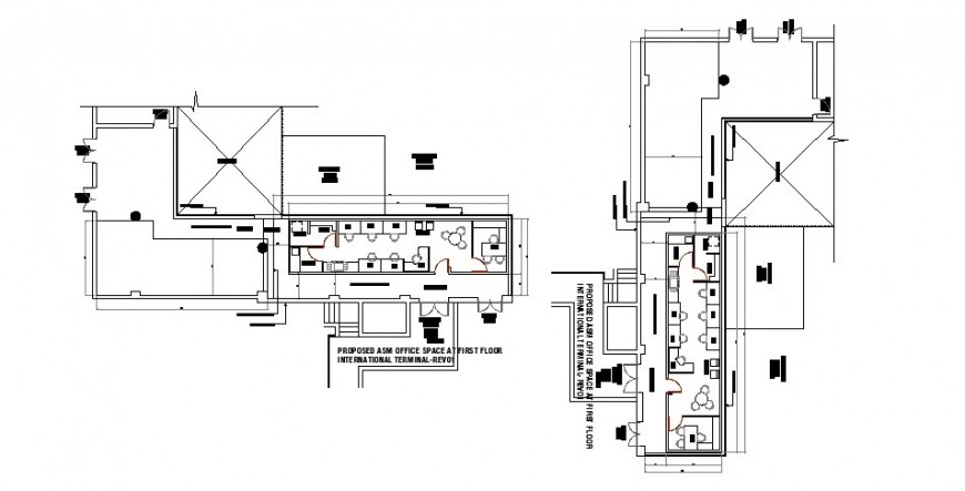 Proposed ASM office first floor distribution plan cad drawing details dwg file
